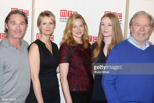 Richard Thomas Cynthia Nixon Laura Linney Lyla Porter Follows and Michael McKean pose at a photo call for the new production of Lillian Hellman's...
