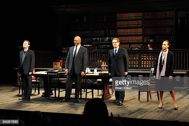 Richard Thomas David Alan Grier James Spader and Kerry Washington take a bow after the Broadway opening night of Race at The Ethel Barrymore Theatre...