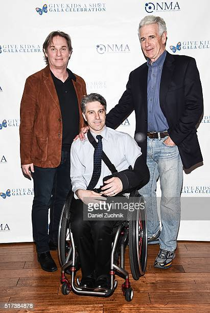 Richard Thomas Victor Calise and James Naughton attend the 2016 Broadway Supports The NMA at Sardi's on March 24 2016 in New York City