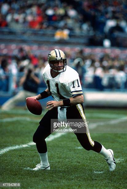 Richard Todd of the New Orleans Saints drops back to pass against the Cleveland Browns during an NFL football game October 28 1984 at Cleveland...