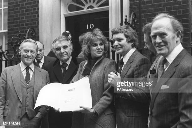 Richard Todd, Sir Geraint Evans, Joanna Lumley, Derren Nesbett, Roy Dotrice and Gordon Jackson outside 10 Downing Street, where they handed in a...