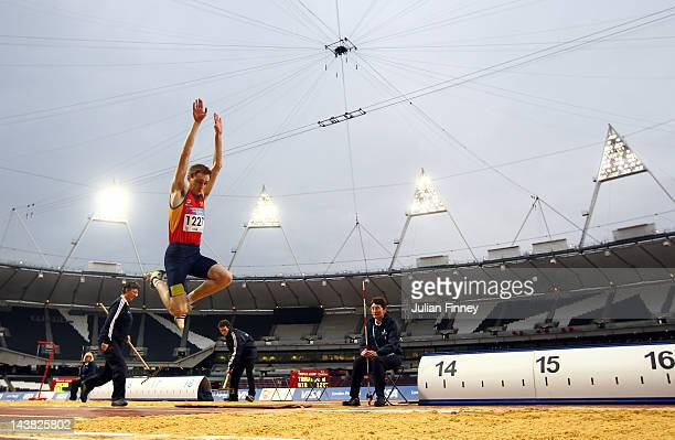 Richard Tranter competes in the triple jump during day one of the BUCS Visa Athletics Championships 2012 LOCOG Test Event for London 2012 at Olympic...
