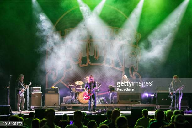 Richard Turner Brit Turner Charlie Starr Brandon Still and Paul Jackson of Blackberry Smoke perform at The Lawn at White River State Park on August...