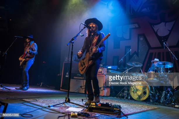 Richard Turner Charlie Starr and Brit Turner of country rock group Blackberry Smoke performing live on stage at The Roundhouse in London on March 28...