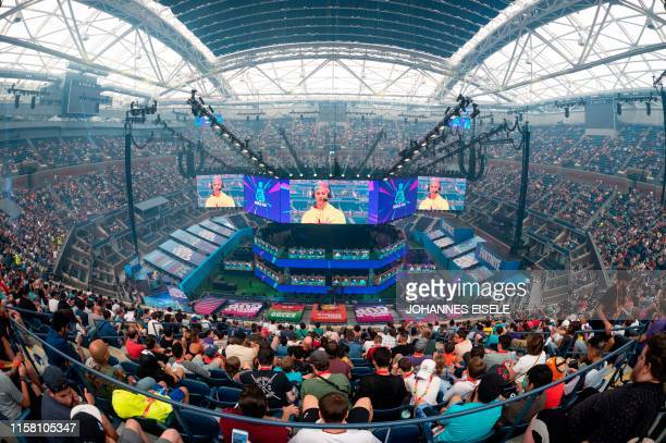TOPSHOT Richard Tyler Blevins aka Ninja speaks to the crowd at the start of the 2019 Fortnite World Cup Finals Round Two on July 27 at Arthur Ashe...