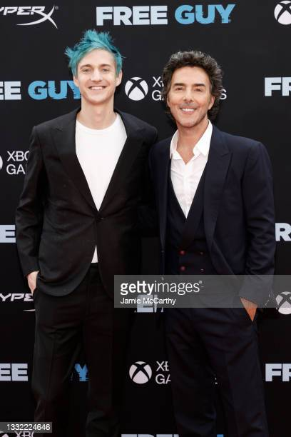 """Richard Tyler Blevins and Shawn Levy attend the """"Free Guy"""" New York Premiere at AMC Lincoln Square Theater on August 03, 2021 in New York City."""