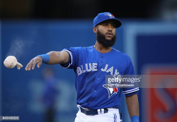 Richard Urena of the Toronto Blue Jays tosses the rosin bag against the Detroit Tigers at Rogers Centre on September 9 2017 in Toronto Canada