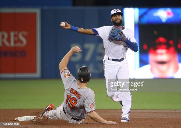 Richard Urena of the Toronto Blue Jays turns a double play to end the sixth inning during MLB game action as Chris Davis of the Baltimore Orioles...