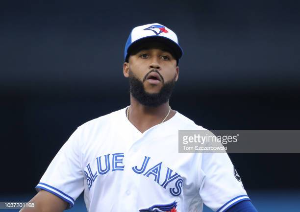 Richard Urena of the Toronto Blue Jays warms up before the start of MLB game action against the Tampa Bay Rays at Rogers Centre on September 4 2018...