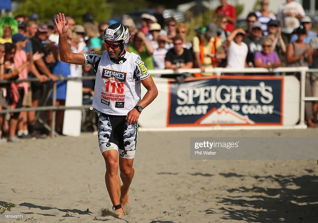 Richard Ussher of New Zealand finishes the 2013 Speights Coast to Coast on February 9, 2013 in Christchurch, New Zealand.