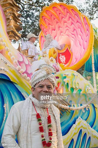 Richard Valadie owner of Royal Artists and float designer for The Krewe of Proteus poses in front of a float along the traditional Uptown parade...