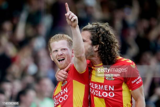 Richard van der Venne of Go Ahead Eagles celebrates 20 with Mael Corboz of Go Ahead Eagles during the Dutch Keuken Kampioen Divisie match between Go...