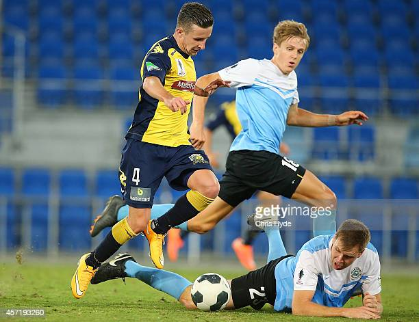 Richard Vernes of the Mariners runs with the ball during the FFA Cup Quarter Final match between the Palm Beach Sharks and the Central Coast Mariner...