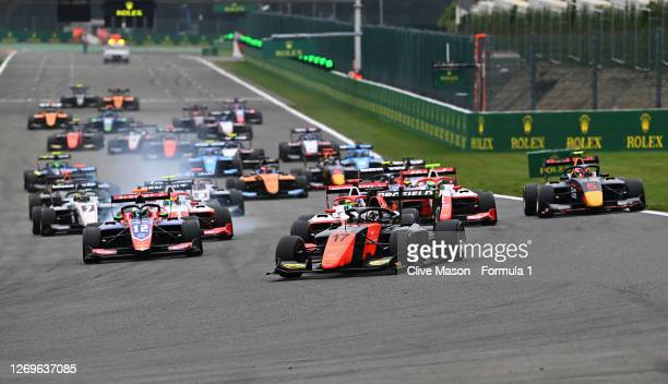 Richard Verschoor of the Netherlands and MP Motorsport leads the field into turn one at the start during race two of the Formula 3 Championship at...