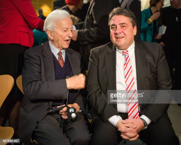 Richard von Weizsaecker and Vice Chancellor Sigmar Gabriel pose together during the celebration '100th Anniversary of Willy Brandt' on December 18...