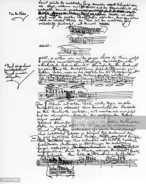 Richard Wagner *2205181313021883Komponist Deine Seite aus Wagners Abhandlung'Zum Vortrag der IXSymphonie vonBeethoven' 1873
