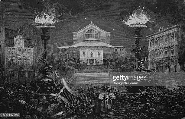 Richard wagner festspielhaus, bayreuth festival theatre, bayreuth, bavaria, germany, historical engraving, 1883