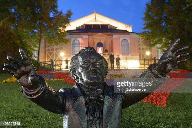 Richard Wagner statue is displayed at Bayreuth Festival Theatre on August 12 2014 in Bayreuth Germany