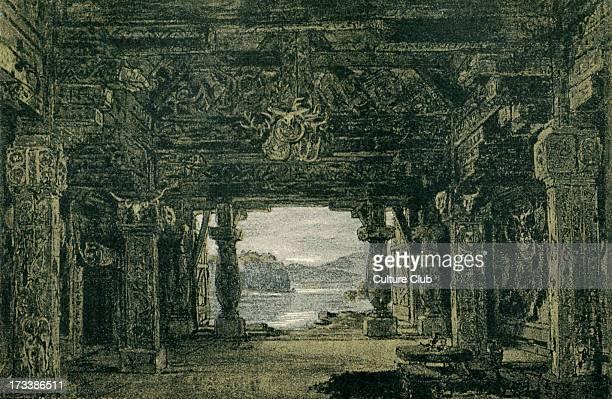 Richard Wagner's Götterdämmerung Act I sketch of scenery to the 'Ring des Nibelungen' Illustration by Heinrich Nisle