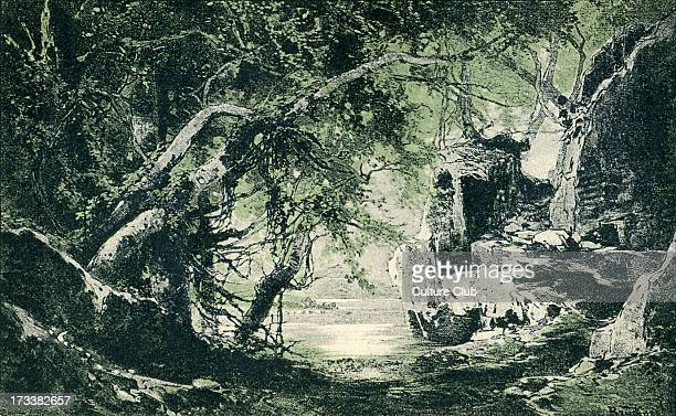 Richard Wagner's Götterdämmerung Act III sketch of scenery to the 'Ring des Nibelungen' Illustration by Heinrich Nisle
