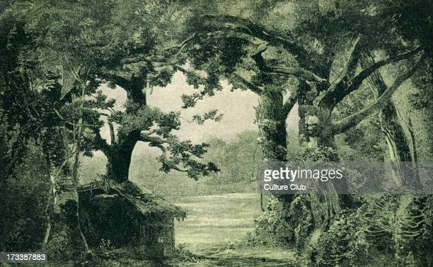 Richard Wagner's Parsifal sketch of scenery to Act III Scene I Illustration by Heinrich Nisle