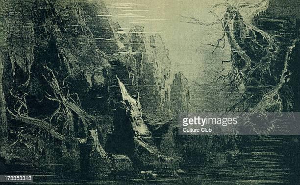 Richard Wagner's Rheingold Act I Scene I sketch of scenery to the 'Ring des Nibelungen' Illustration by Heinrich Nisle
