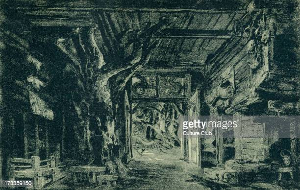 Richard Wagner's The Valkyrie Act I sketch of scenery to the 'Ring des Nibelungen' Illustration by Heinrich Nisle