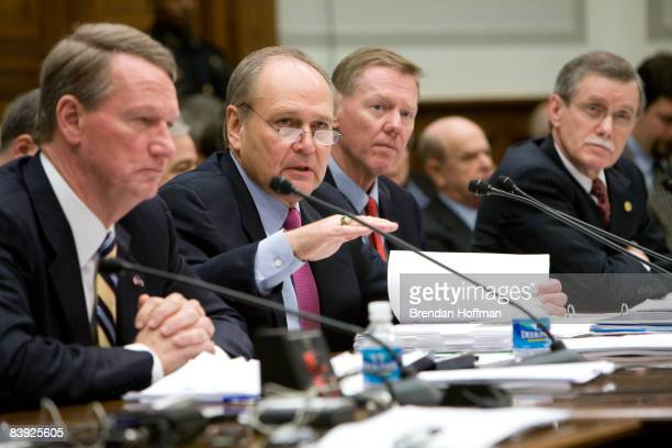 G Richard Wagoner Jr chairman and CEO of General Motors Robert Nardelli CEO of Chrysler Alan Mulally president and CEO of Ford and Ron Gettelfinger...