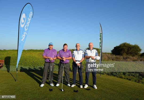 Richard Walker Captain of Brokenhurst Manor Golf Club and Kevin Saunders of Brokenhurst Manor Golf Club pose for a photo on the 1st tee with Brian...