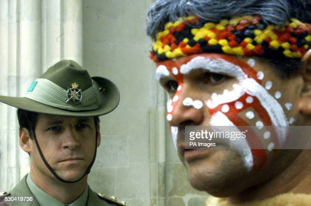Richard Walley of the Myoongar Biddenjarreb Tribe with an Australian soldier outside Westminster Abbey after a service to mark the centenary of...