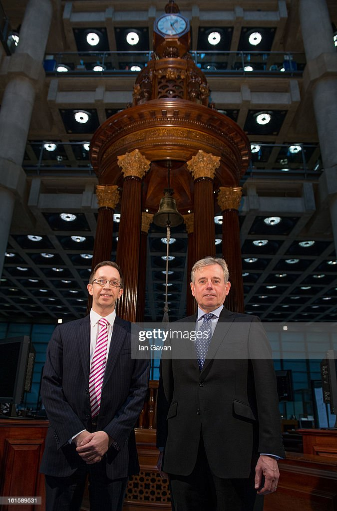 Richard Ward, CEO of Lloyd's and Jim Sadler of Xchanging pictured at the launch of the new iPad application at Lloyd's of London on February 12, 2013 in London, England. The application allows those in the market to abandon the traditional broker's slipcase and work on tablets for the first time in the centuries old insurance market.