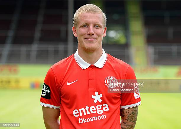 Richard Weil poses during the team presentation of 1 FSV Mainz 05 II at Bruchwegstadion on July 16 2014 in Mainz Germany
