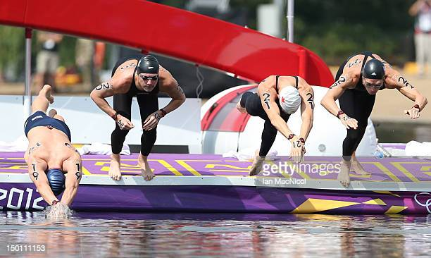 Richard Weinberger of Canada competes during the Men's Marathon 10km swim on Day 14 of the London 2012 Olympic Games at Hyde Park on August 10 2012...