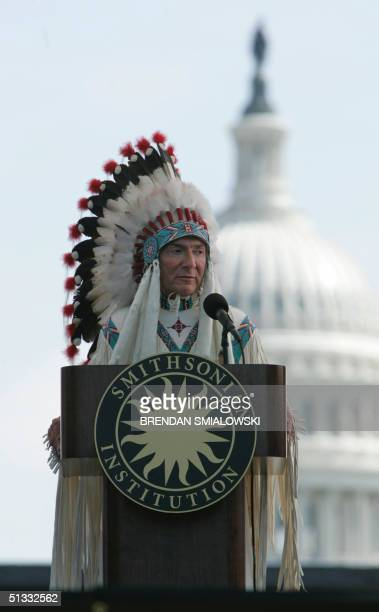 W Richard West Jr director of the National Museum of the American Indian and a citizen of the Cheyenne and Arapaho Tribes of Oklahoma speaks before...