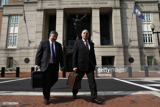 Richard Westling cocounsel for former Donald Trump Campaign Manager Paul Manafort left and Thomas Zehnle cocounsel for Manafort exit District Court...