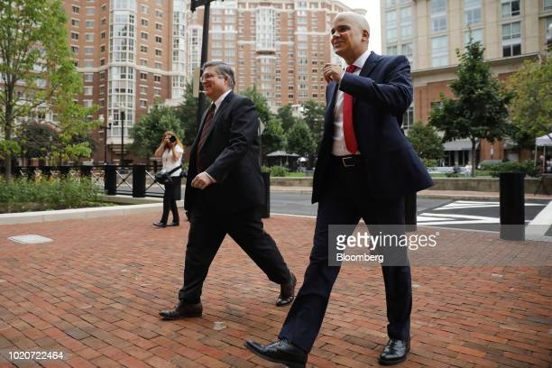Richard Westling cocounsel for former Donald Trump Campaign Manager Paul Manafort left and Jay Nanavati cocounsel for Manafort arrive at District...