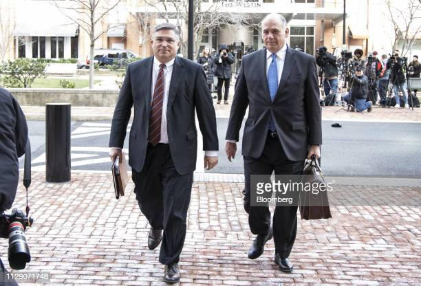 Richard Westling cocounsel for former Donald Trump Campaign Manager Paul Manafort left and Thomas Zehnle cocounsel for Manafort arrive at the US...