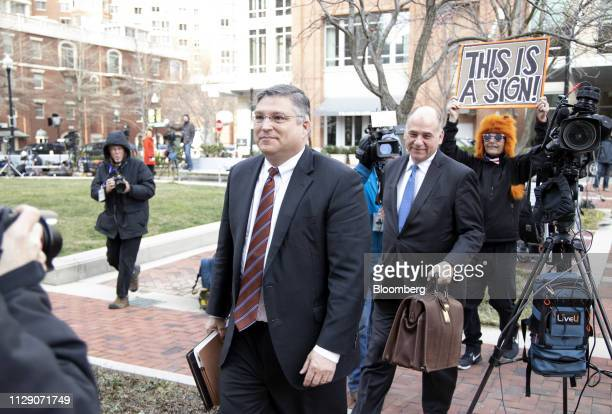 Richard Westling cocounsel for former Donald Trump Campaign Manager Paul Manafort left and Thomas Zehnle cocounsel for Manafort center arrive at the...