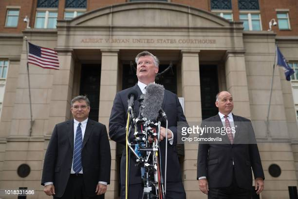 Richard Westling Kevin Downing and Thomas Zehnle attorneys for former Trump campaign chairman Paul Manafort tell reporters the jury has not reached a...