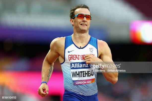 Richard Whitehead of Great Britain celebrates winning the bronze medal in the Men's 100m T42 Final during Day Four of the IPC World ParaAthletics...