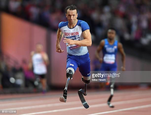 Richard Whitehead of Great Britain competes in the Men's 200m T42 Final during Day Two of the IPC World ParaAthletics Championships 2017 at London...