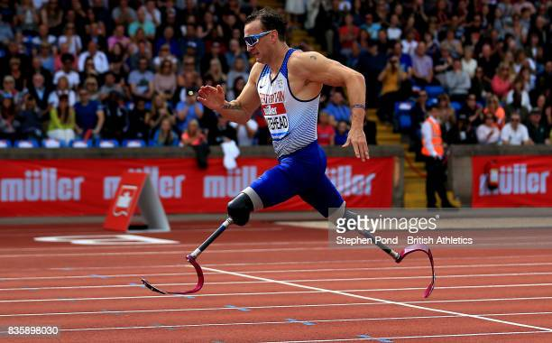 Richard Whitehead of Great Britain in the mens 200m T42 during the Muller Grand Prix and IAAF Diamond League event at Alexander Stadium on August 20...
