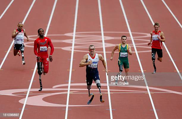 Richard Whitehead of Great Britain runs in the Men's 200m T42 Final on day 3 of the London 2012 Paralympic Games at Olympic Stadium on September 1...