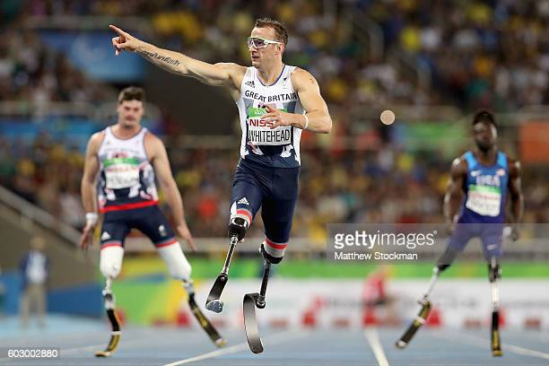 Richard Whitehead of Great Britain wins the men's 200 meter T42 final at Olympic Stadium during day 4 of the Rio 2016 Paralympic Games on September...
