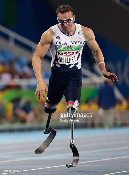 Richard Whitehead of Great Britian competes in the Men's 100m T42 Final on day 8 of the Rio 2016 Paralympic Games at the Olympic Stadium on September...