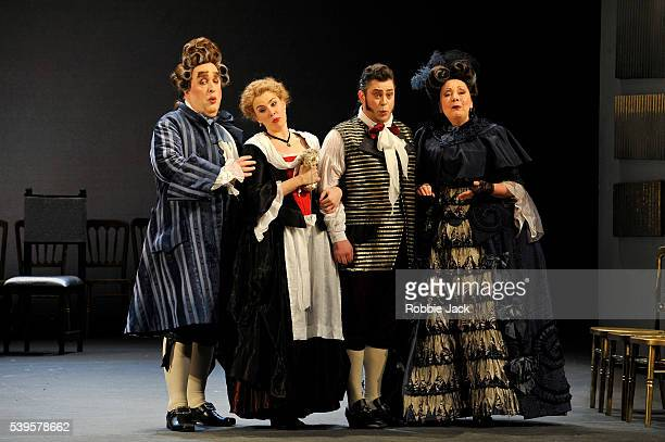 Richard Wiegold as Dr Bartolo Anna Devin as Susanna David Stout as Figaro and Susan Bickley as Marcellina in Welsh National Opera's production of...