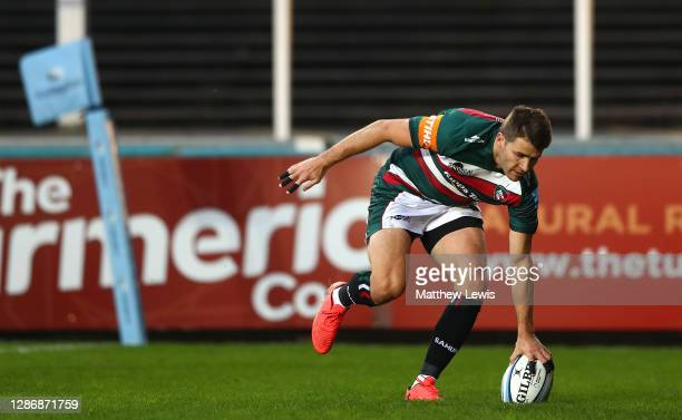 Richard Wigglesworth of Leicester Tigers scores a try during the Gallagher Premiership Rugby match between Leicester Tigers and Gloucester at Welford...