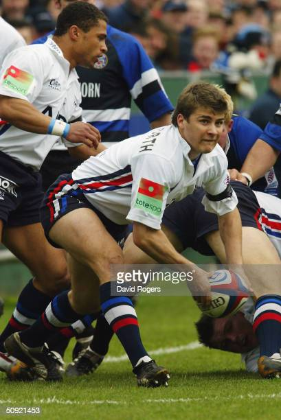 Richard Wigglesworth of Sale in action during the Zurich Premiership match between Bath and Sale Sharks at The Recreation Ground on April 3 2004 in...