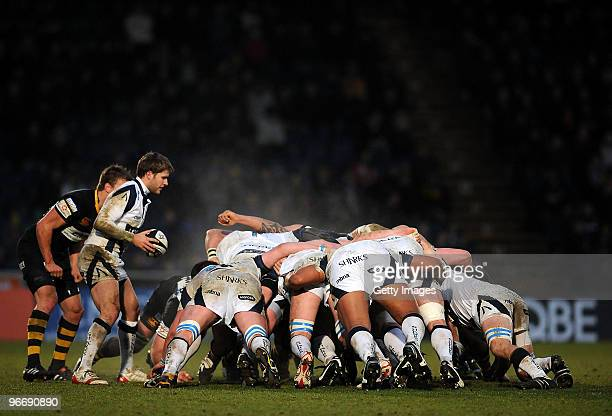 Richard Wigglesworth of Sale puts the ball into the scrum as steam rises during the Guinness Premiership match between London Wasps and Sale Sharks...