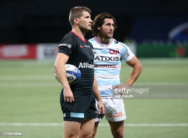 Richard Wigglesworth of Saracens Maxime Machenaud of Racing 92 during the Heineken Champions Cup Semi Final match between Racing 92 and Saracens at...